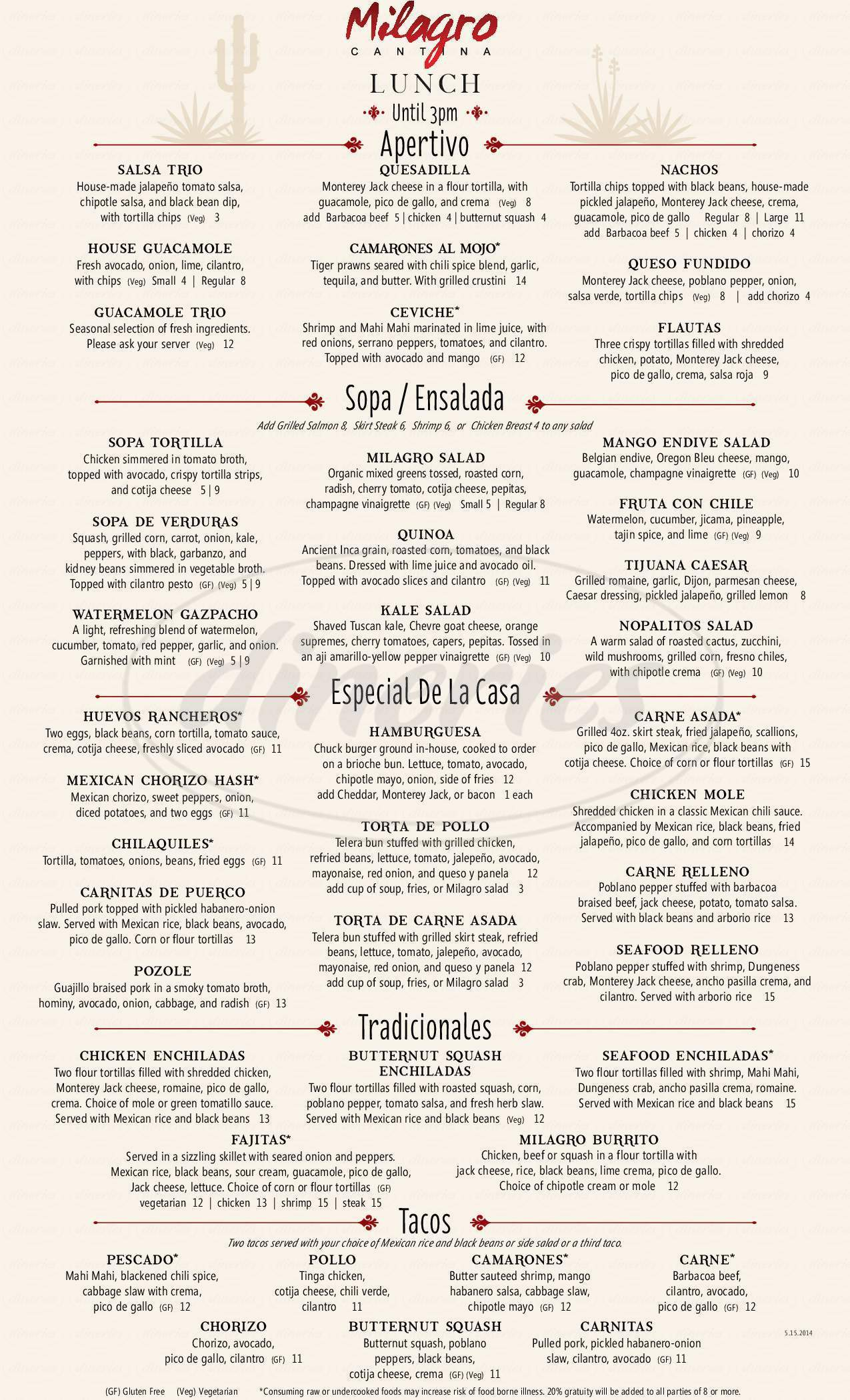 menu for Milagro Cantina