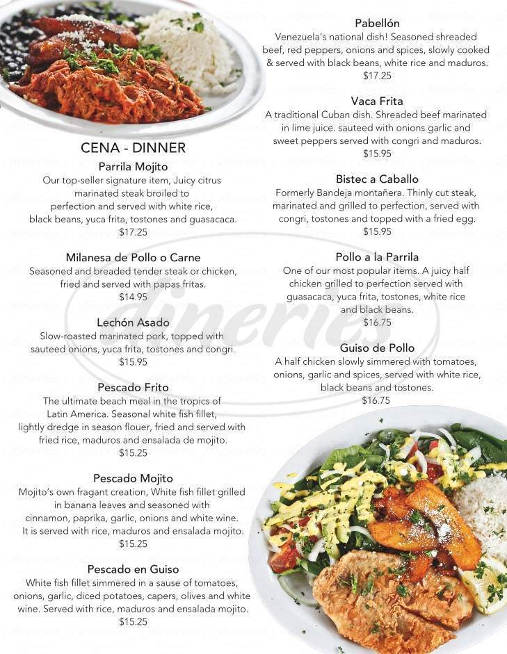 menu for Mojito