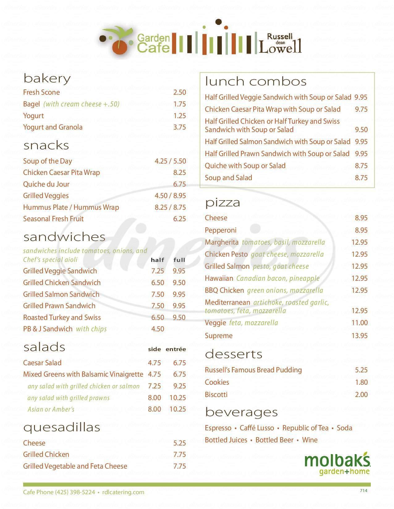 menu for Garden Cafe At Molbaks