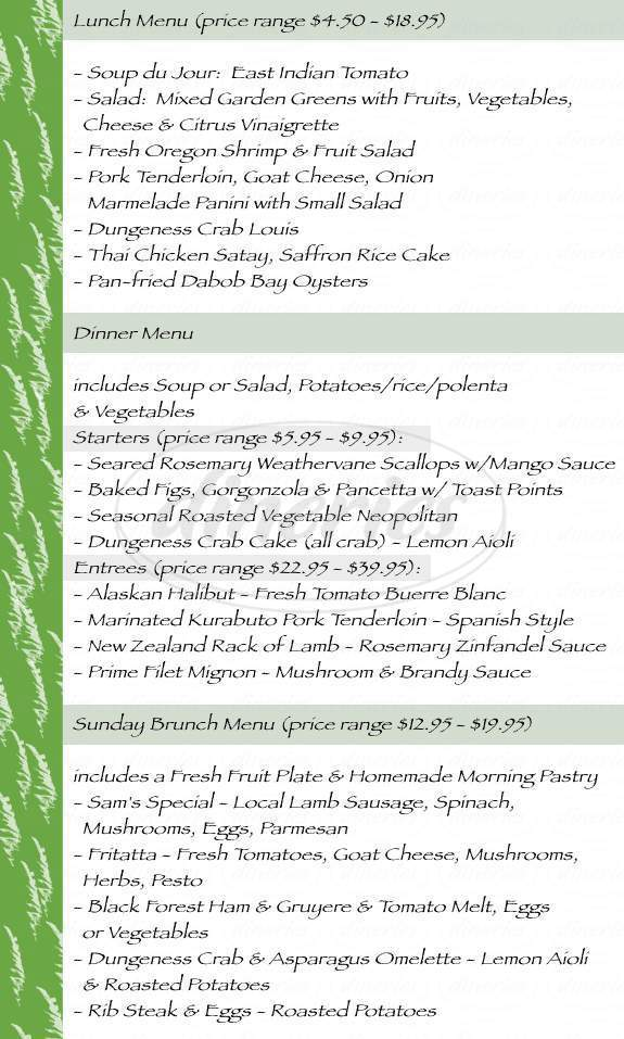menu for Molly Ward Gardens