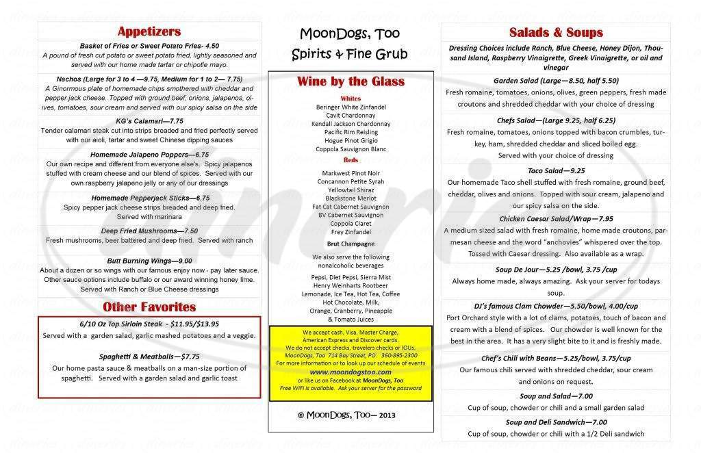 menu for MoonDogs Too
