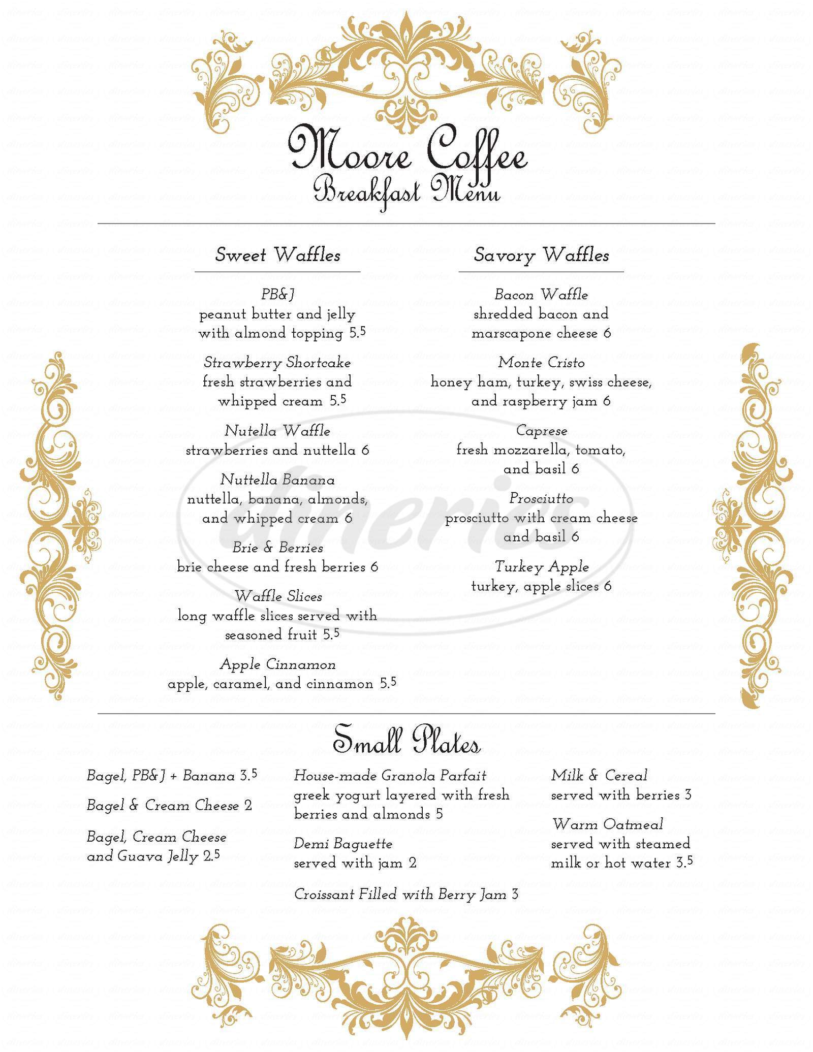 menu for Moore Coffee Shop