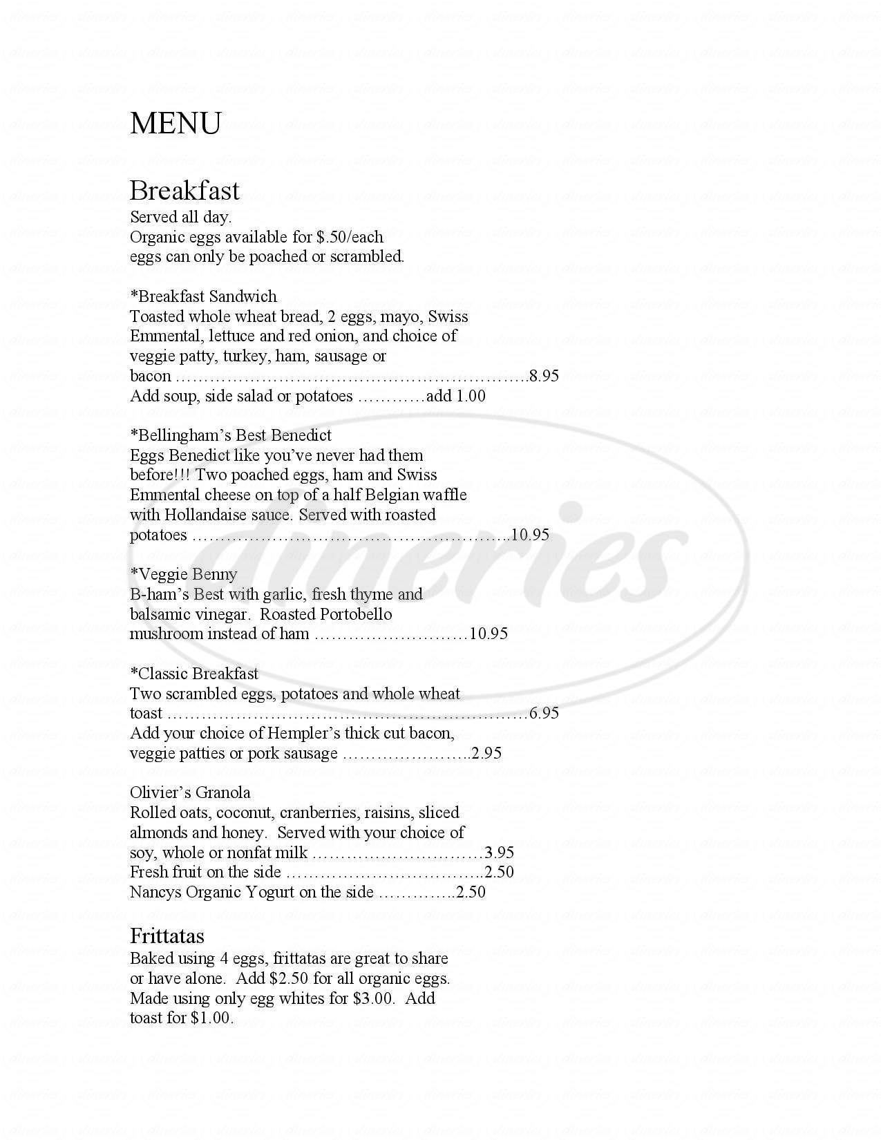 menu for The Mount Bakery Cafe