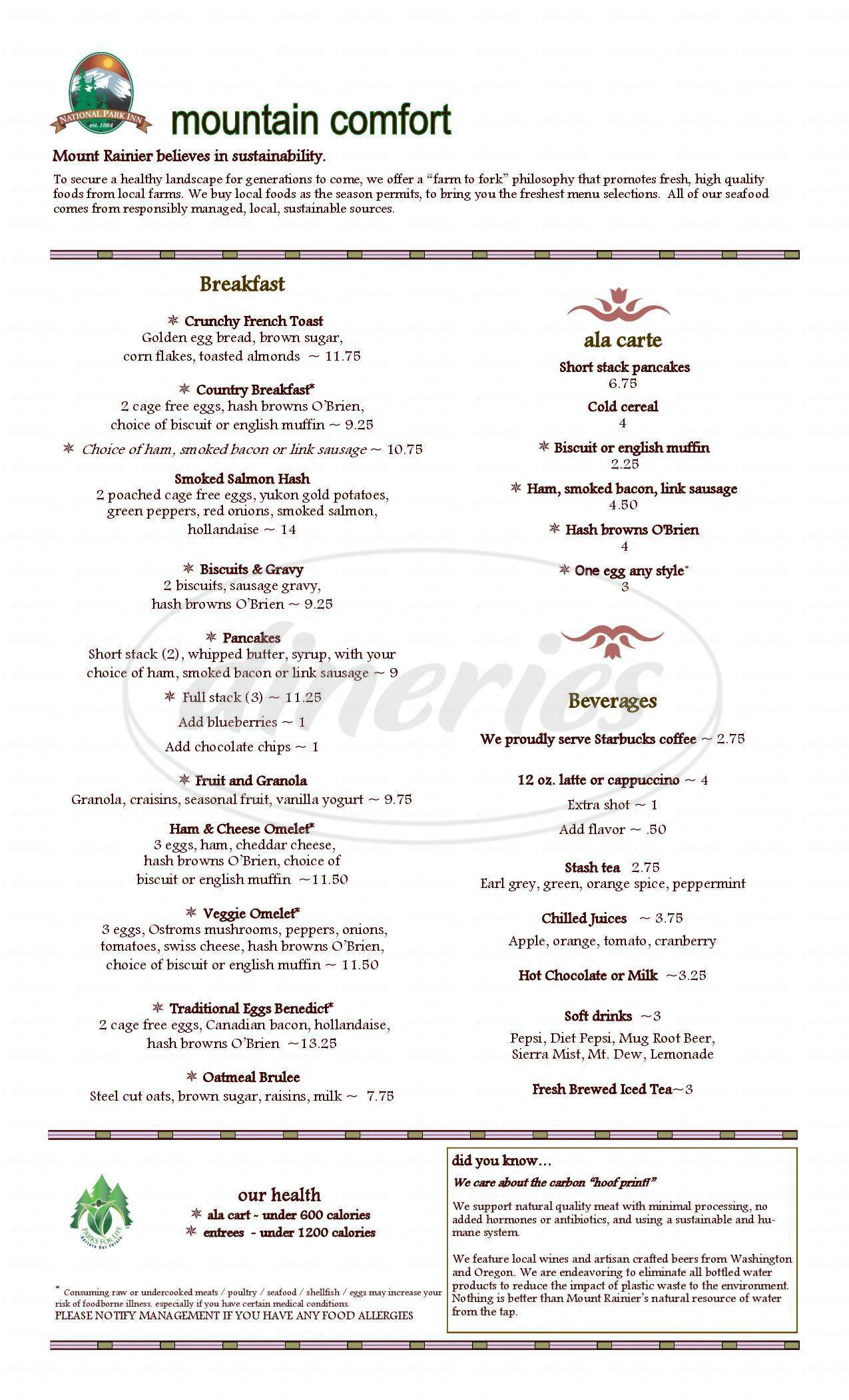 menu for National Park Dining Room