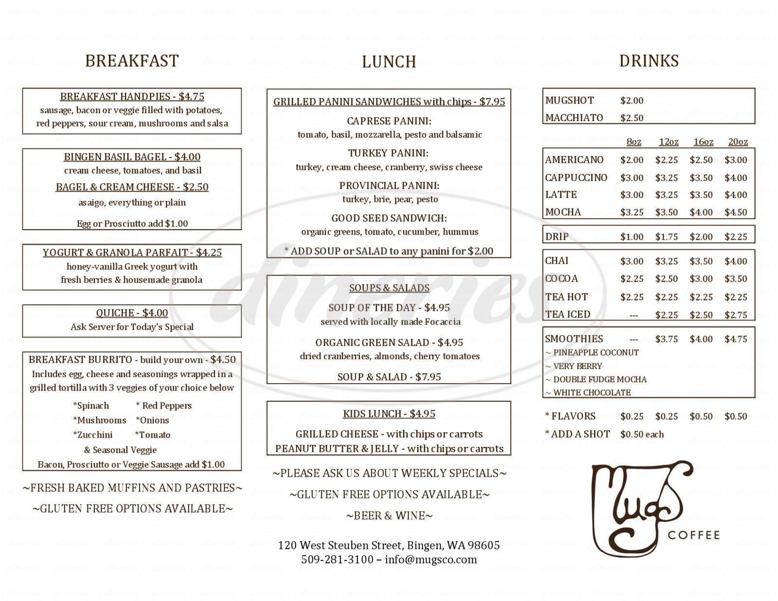 menu for Mugs Coffee