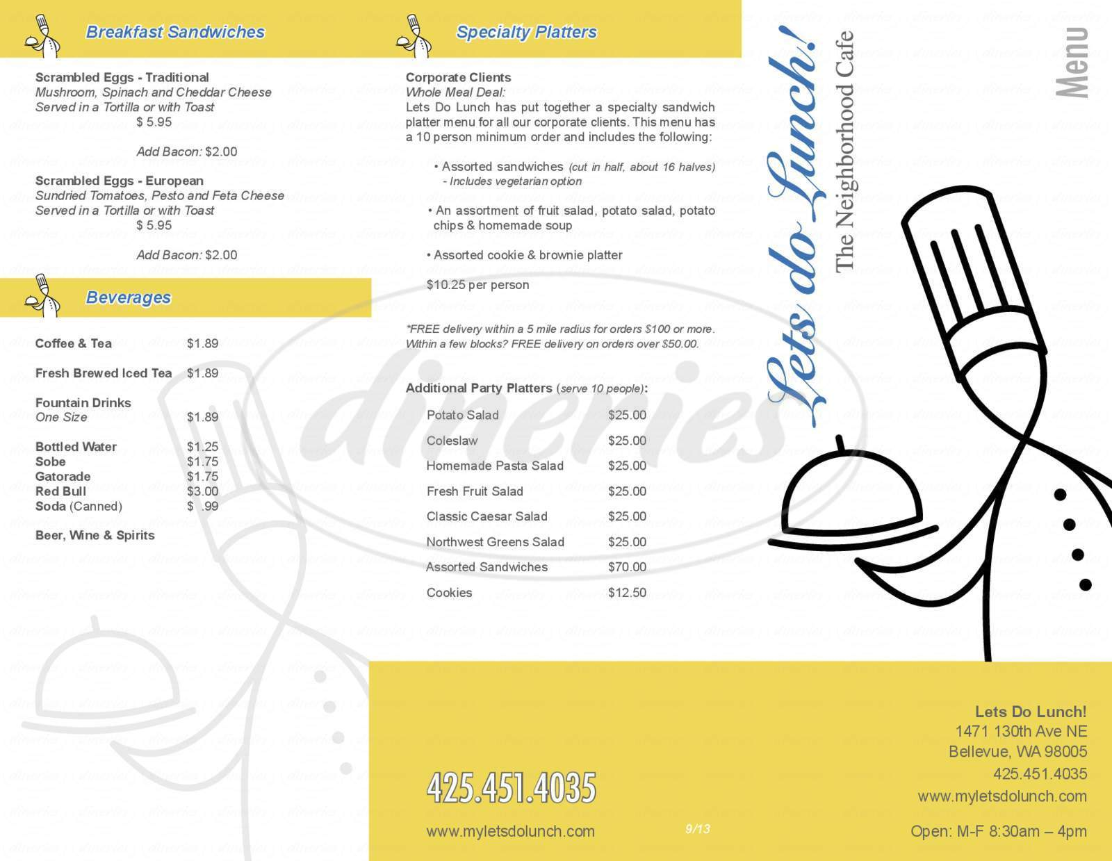 menu for Lets do Lunch!