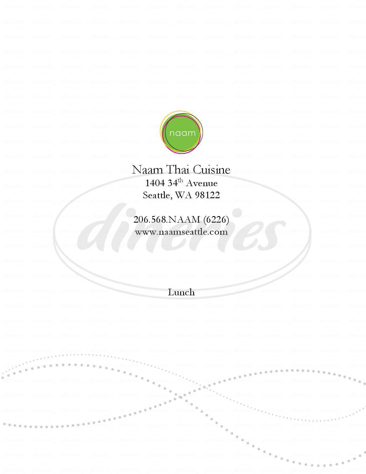 menu for Naam Thai Cuisine