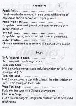 menu for Nattamit Thai Restaurant