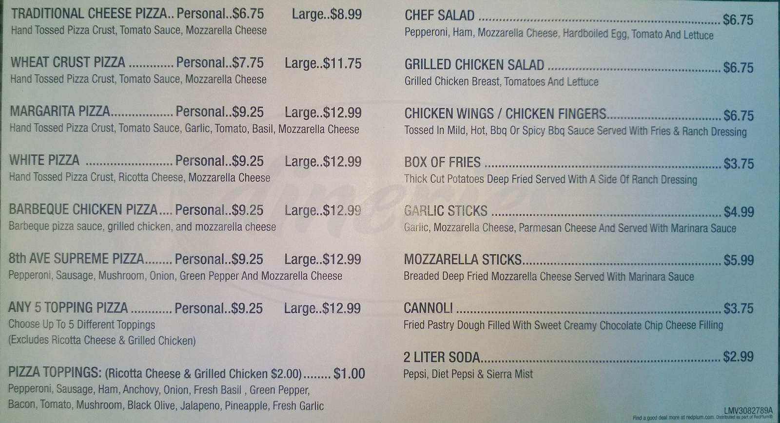 menu for 8th Ave Pizza