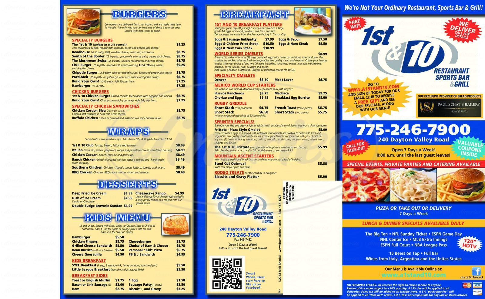 menu for 1st & 10 Restaurant Sports Bar & Grill