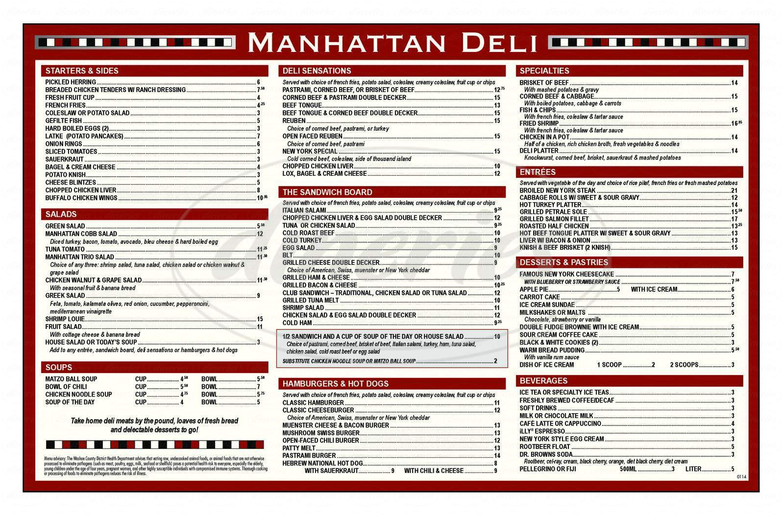 menu for Manhattan Deli