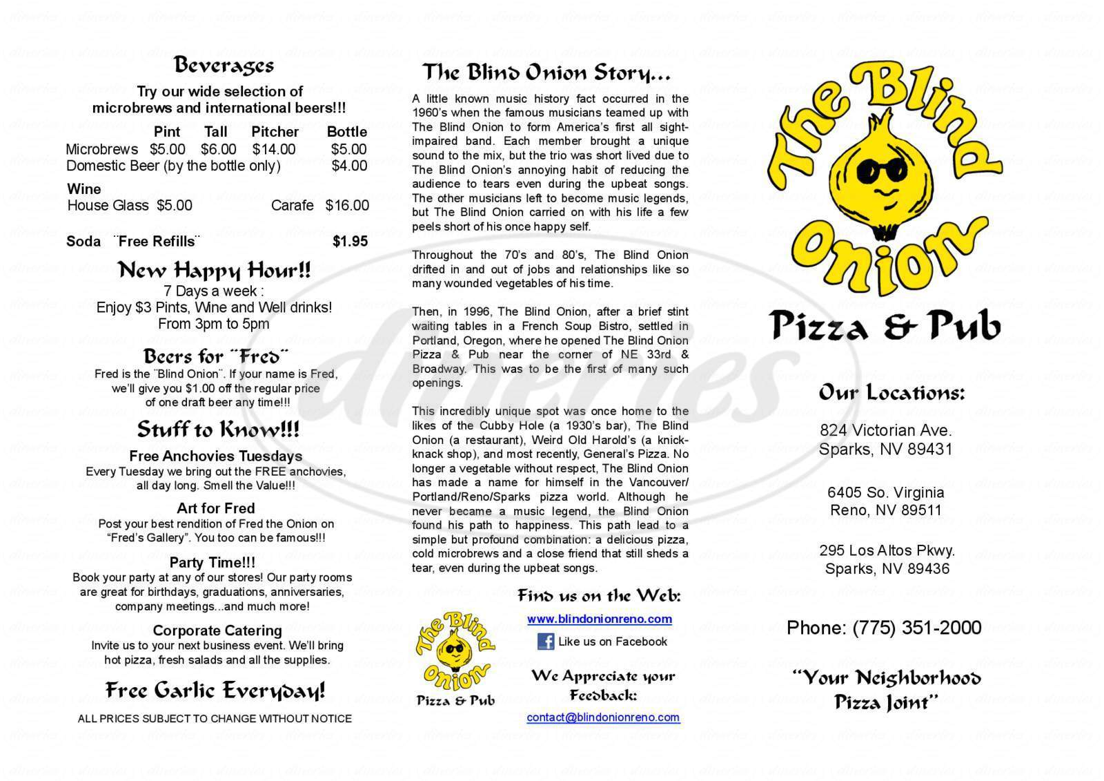 menu for The Blind Onion Pizza & Pub