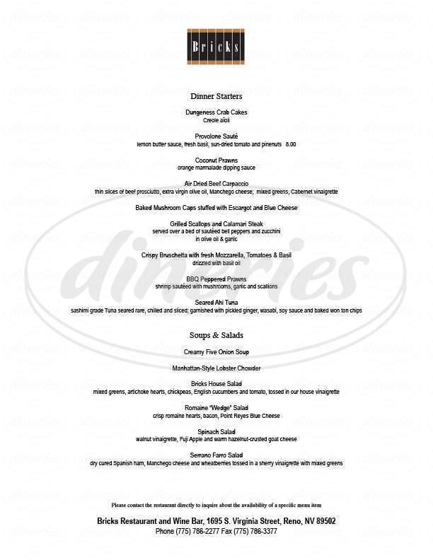 menu for Bricks Restaurant & Wine Bar