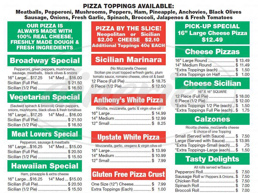 menu for Broadway Pizzeria