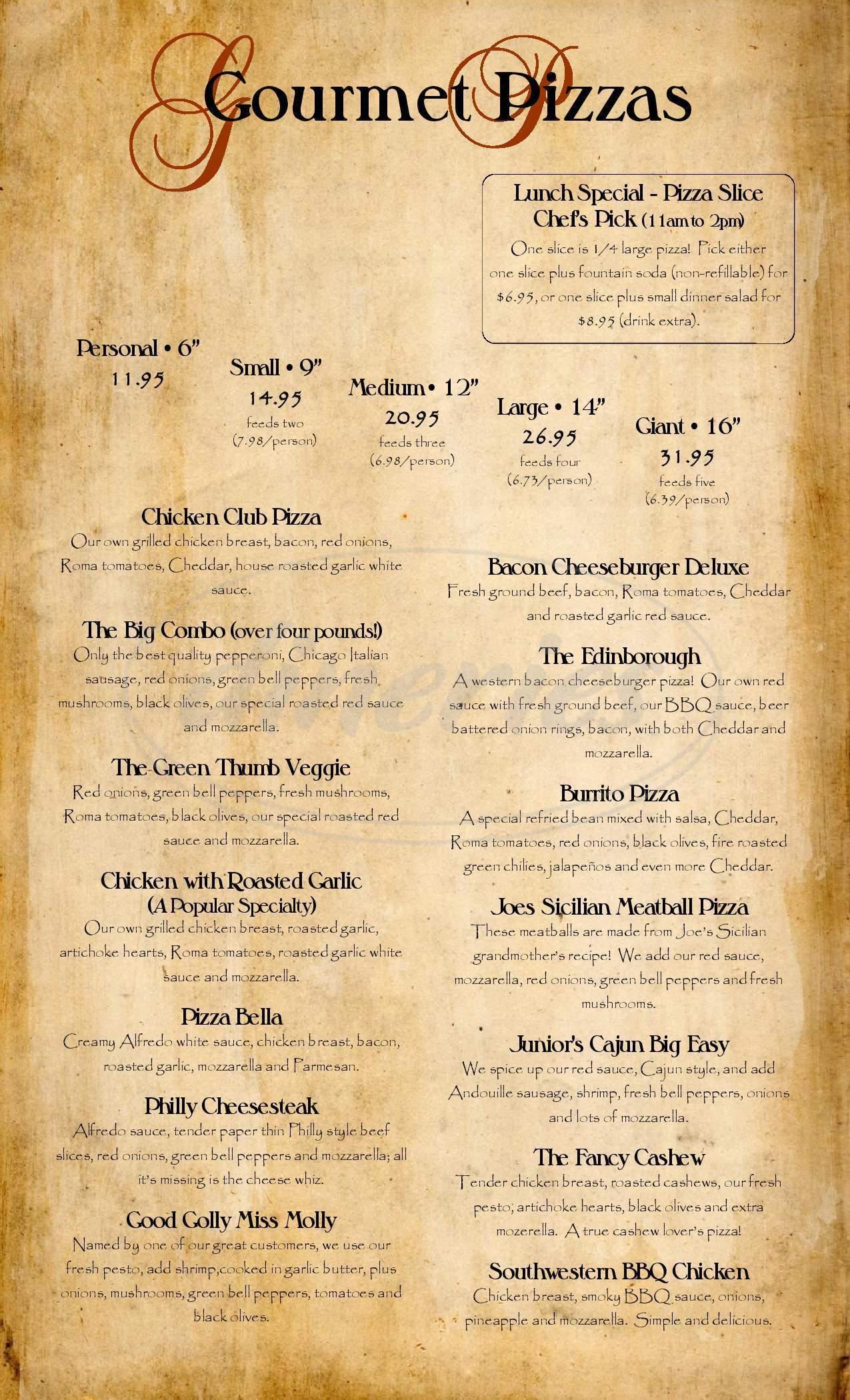 menu for Brugo's Pizza Company and Bistro