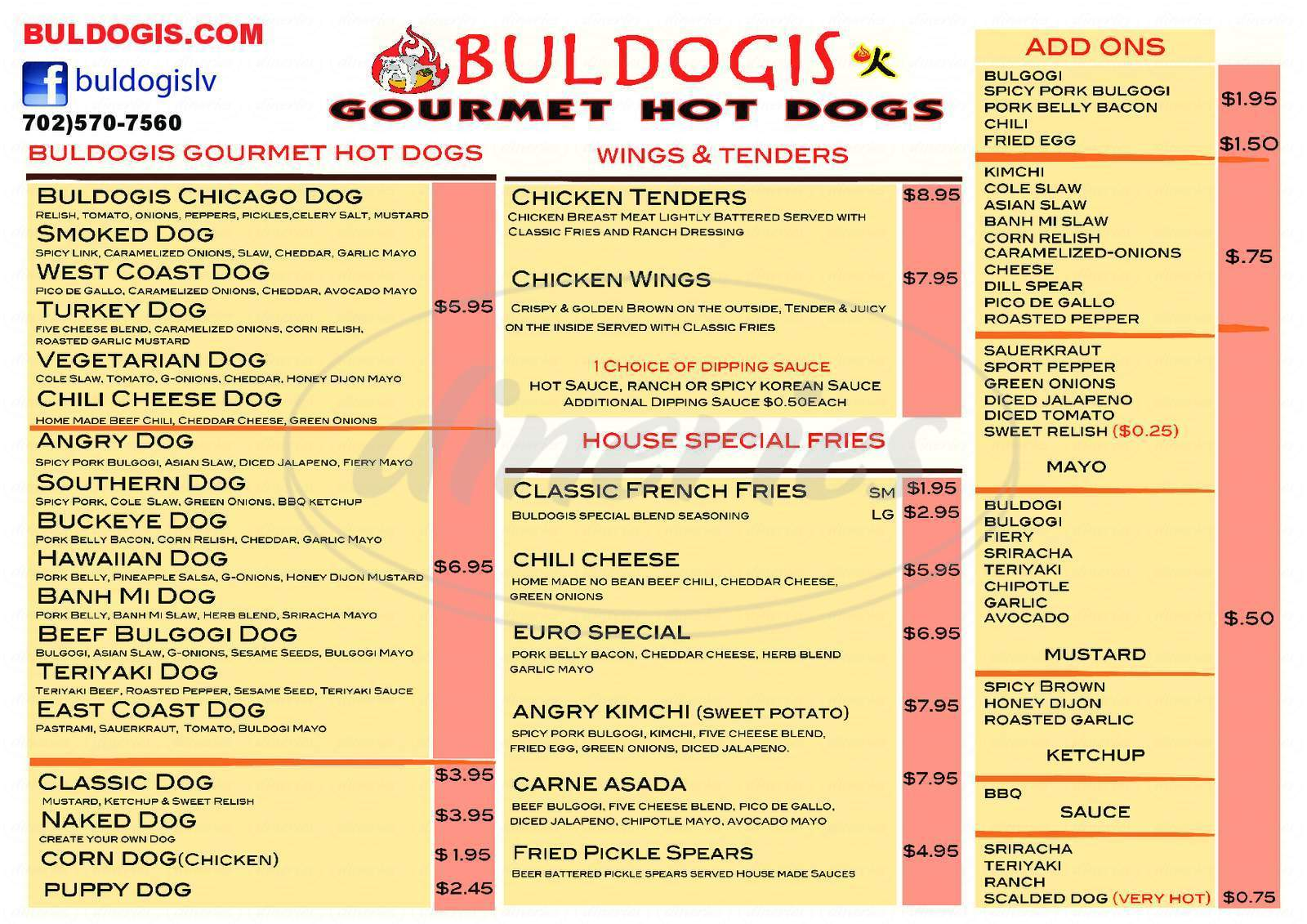 menu for Buldogis Gourmet Hot Dogs