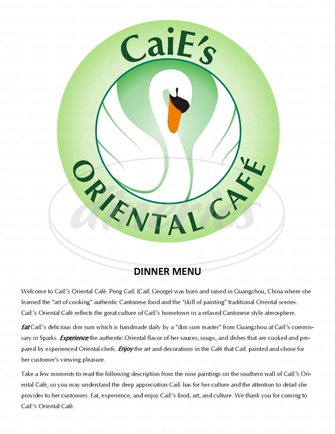 menu for Caie's Oriental Cafe