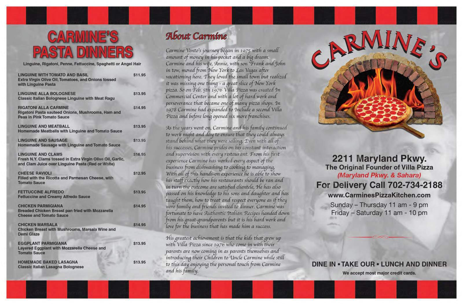 menu for Carmine's Pizza Kitchen