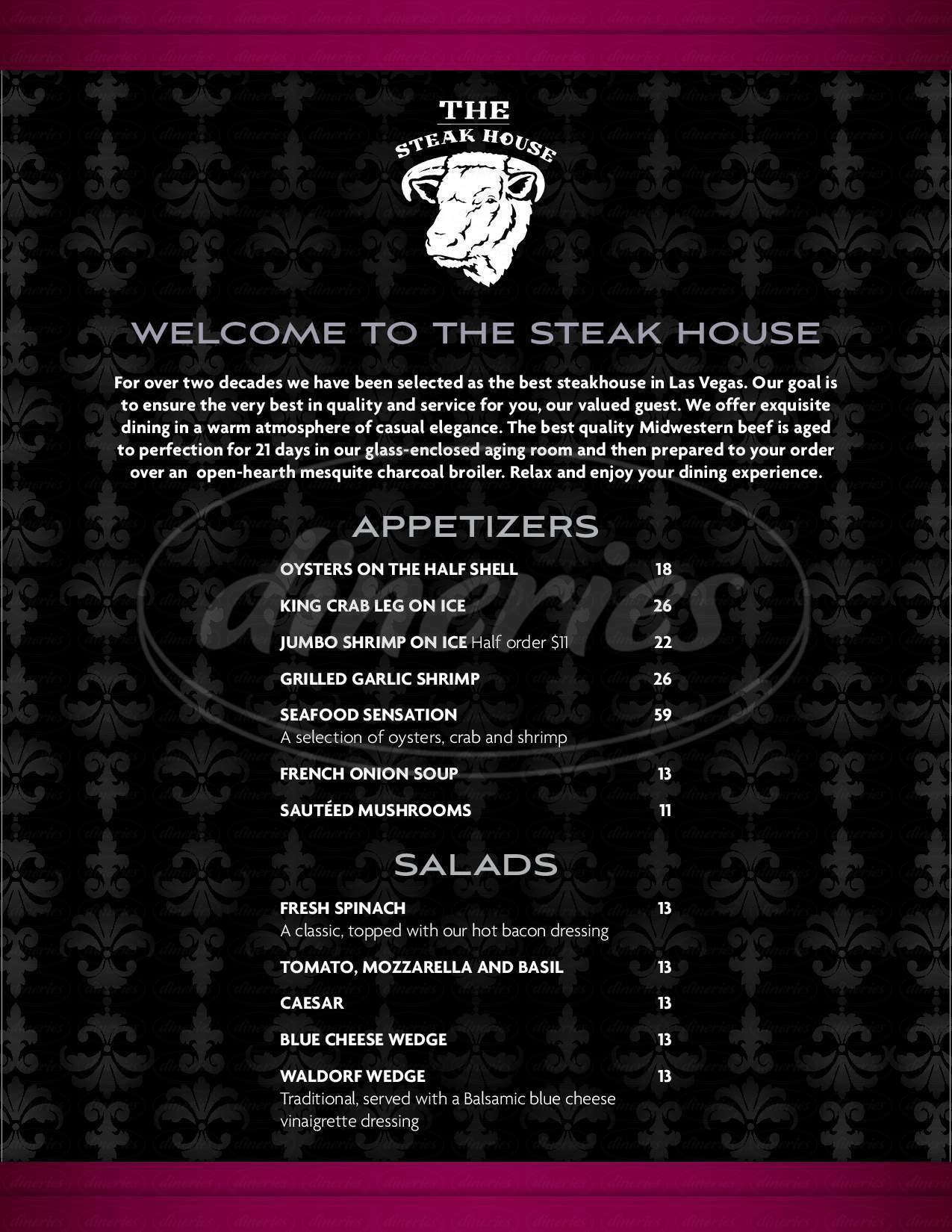 menu for The Steakhouse