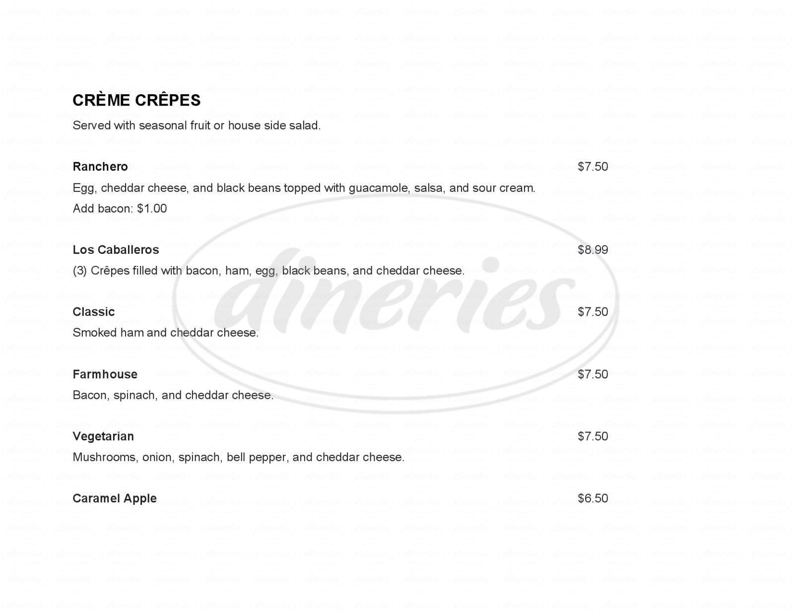 menu for Crème Cafe