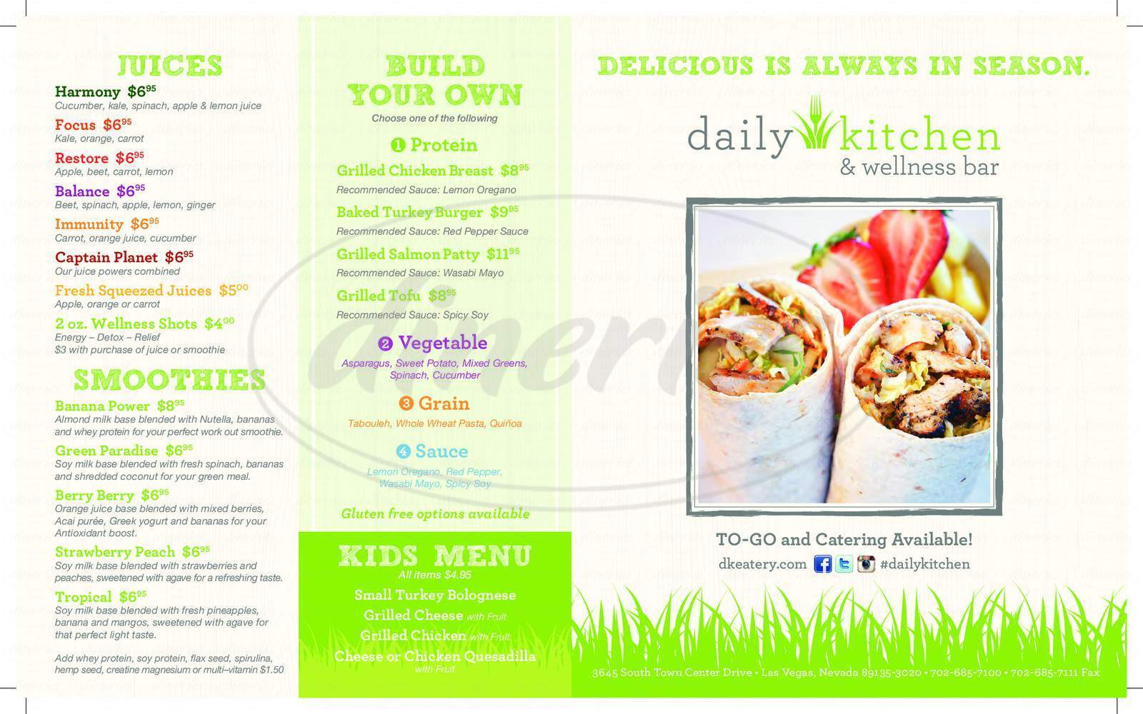 menu for Daily Kitchen and Wellness Bar