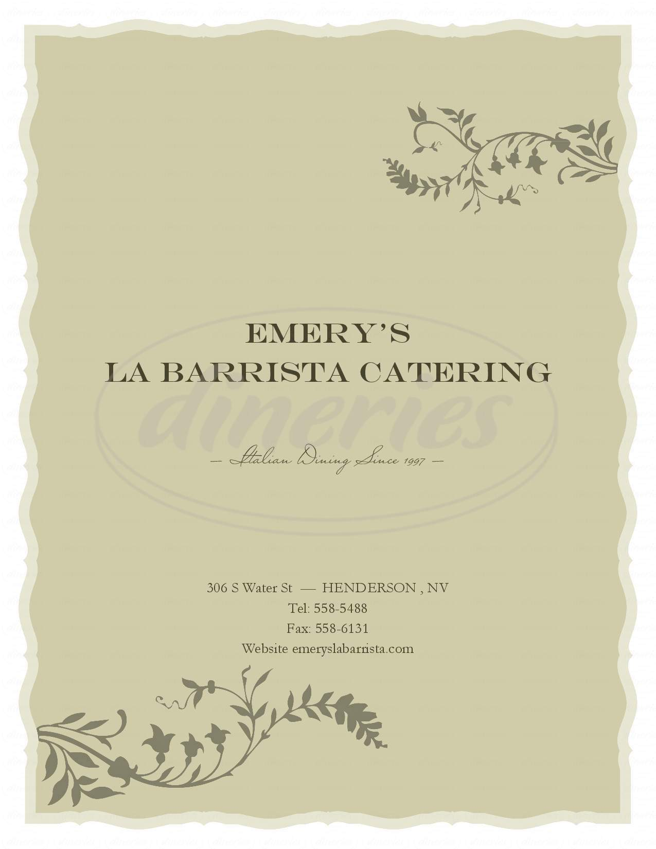 menu for Emery's / La Barrista Catering II