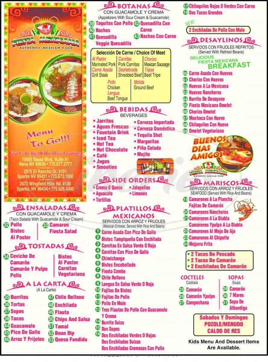 menu for Fiesta Mexicana