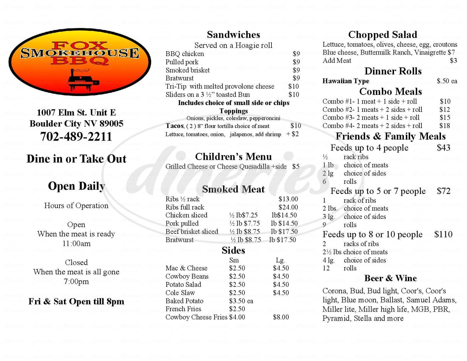 menu for Fox Smokehouse Bbq