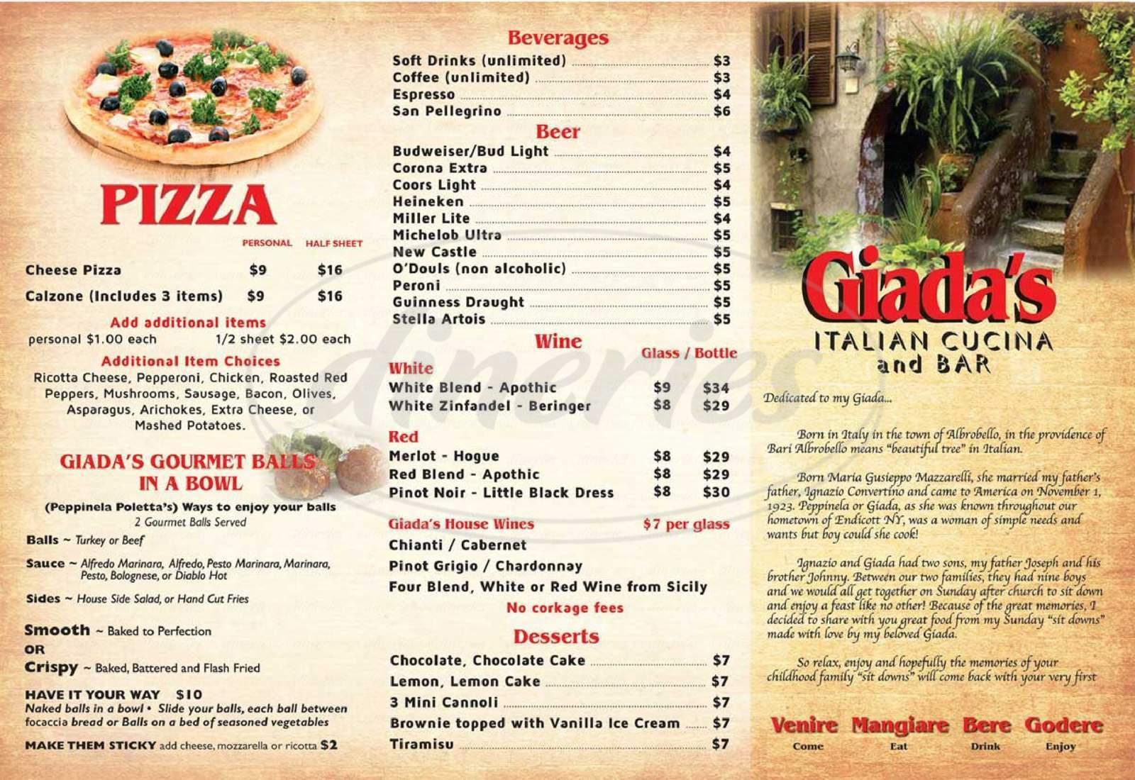 menu for Giada's Italian Cucina