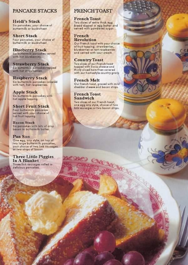 menu for Heidi's