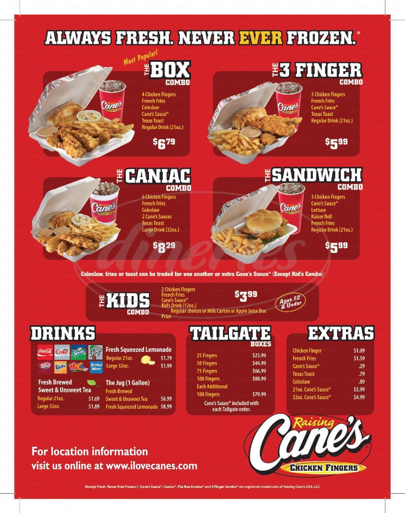 menu for Raising Cane's