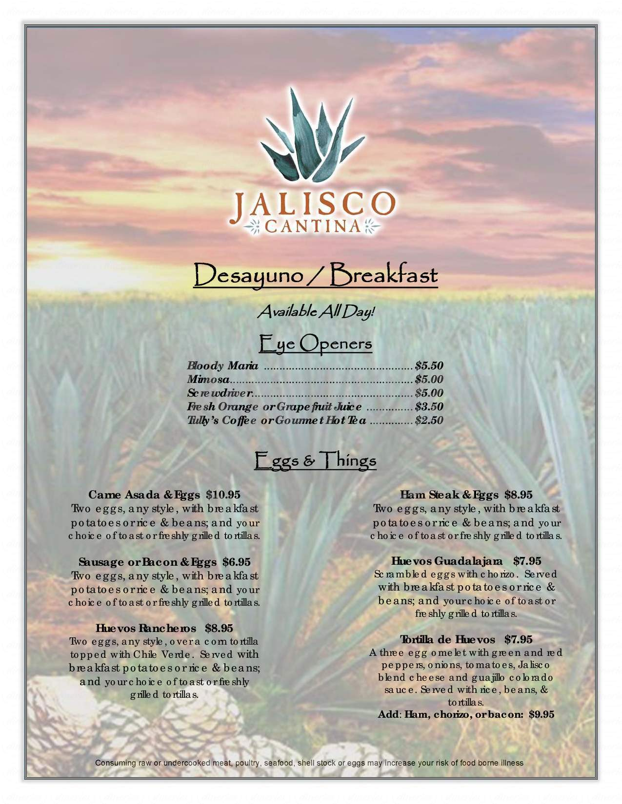 menu for Jalisco Cantina