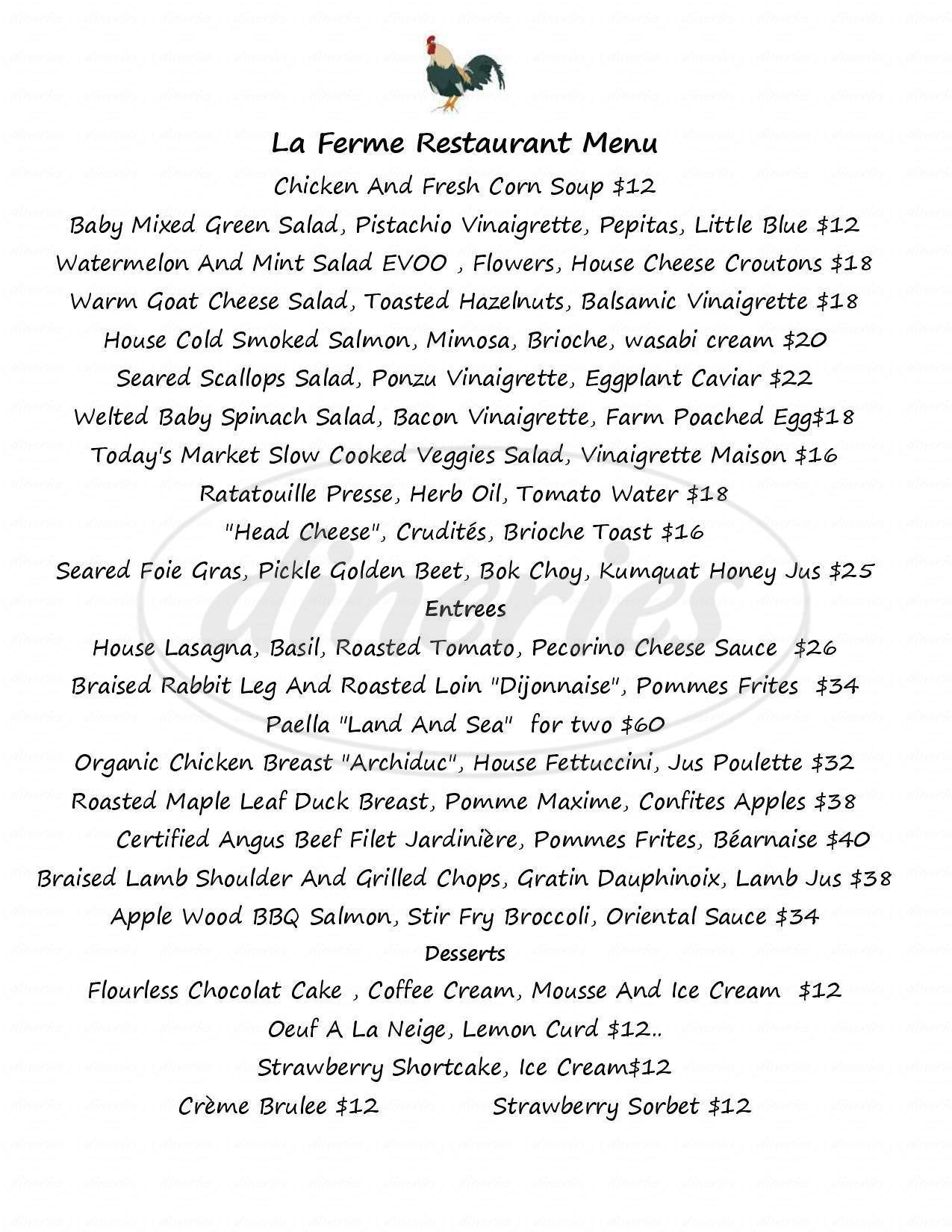 menu for La Ferme
