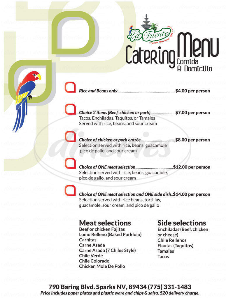 menu for La Fuente Mexican Restaurant