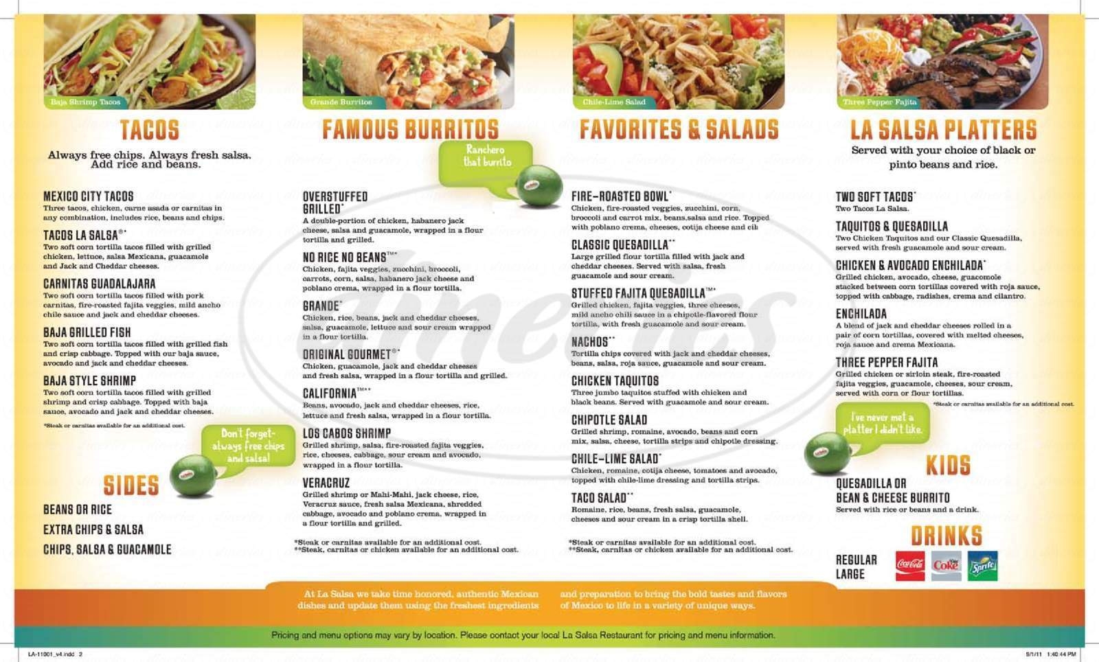 menu for La Salsa Mexican Food