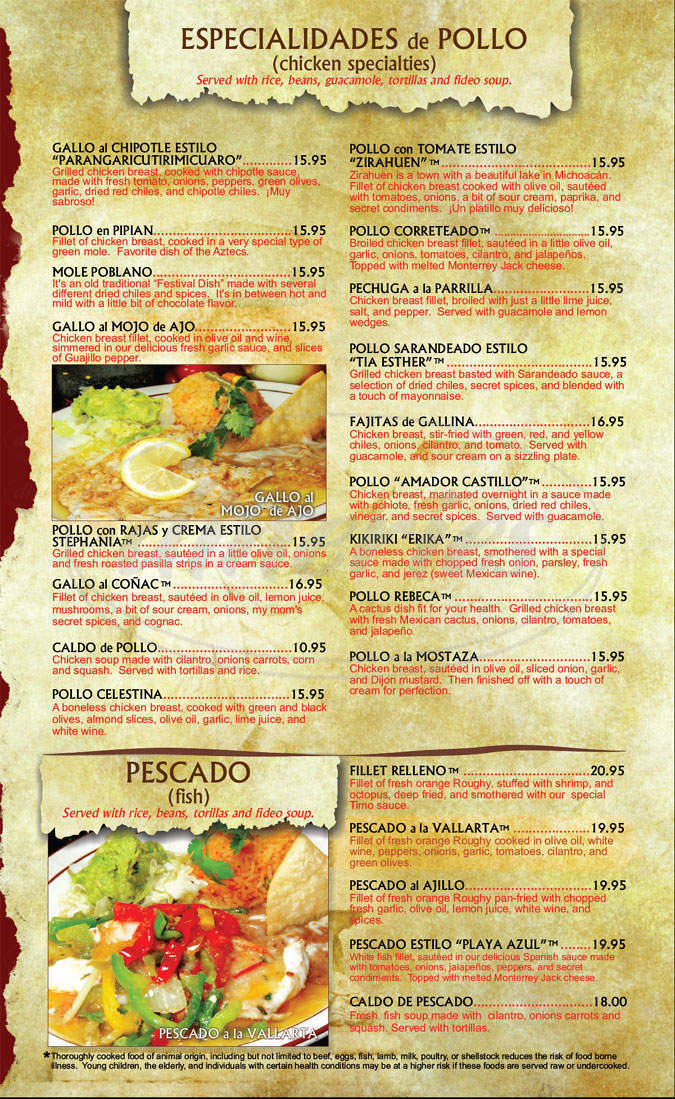 menu for Lindo Michoacan
