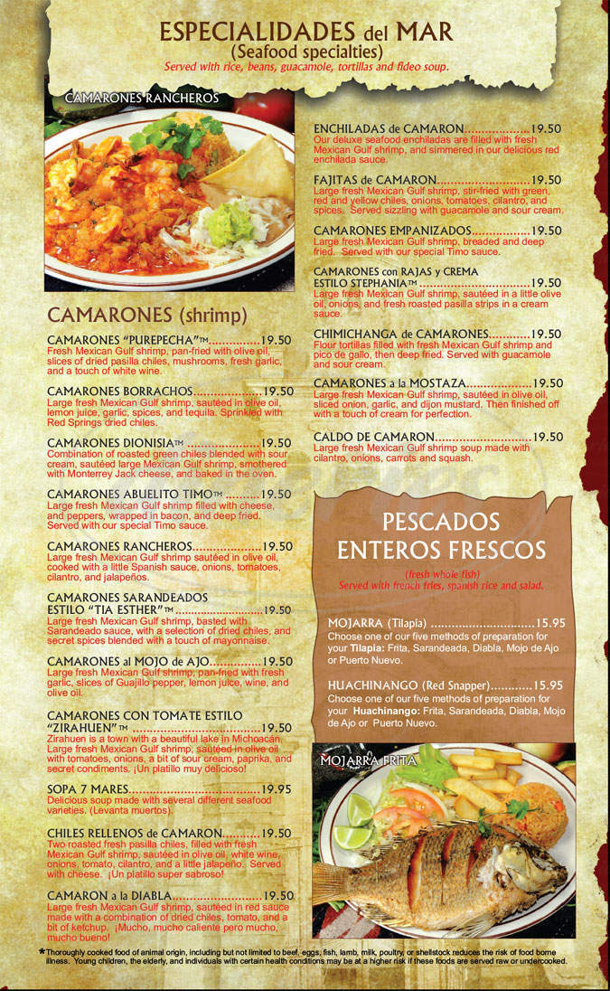 menu for Lindo Michoacan