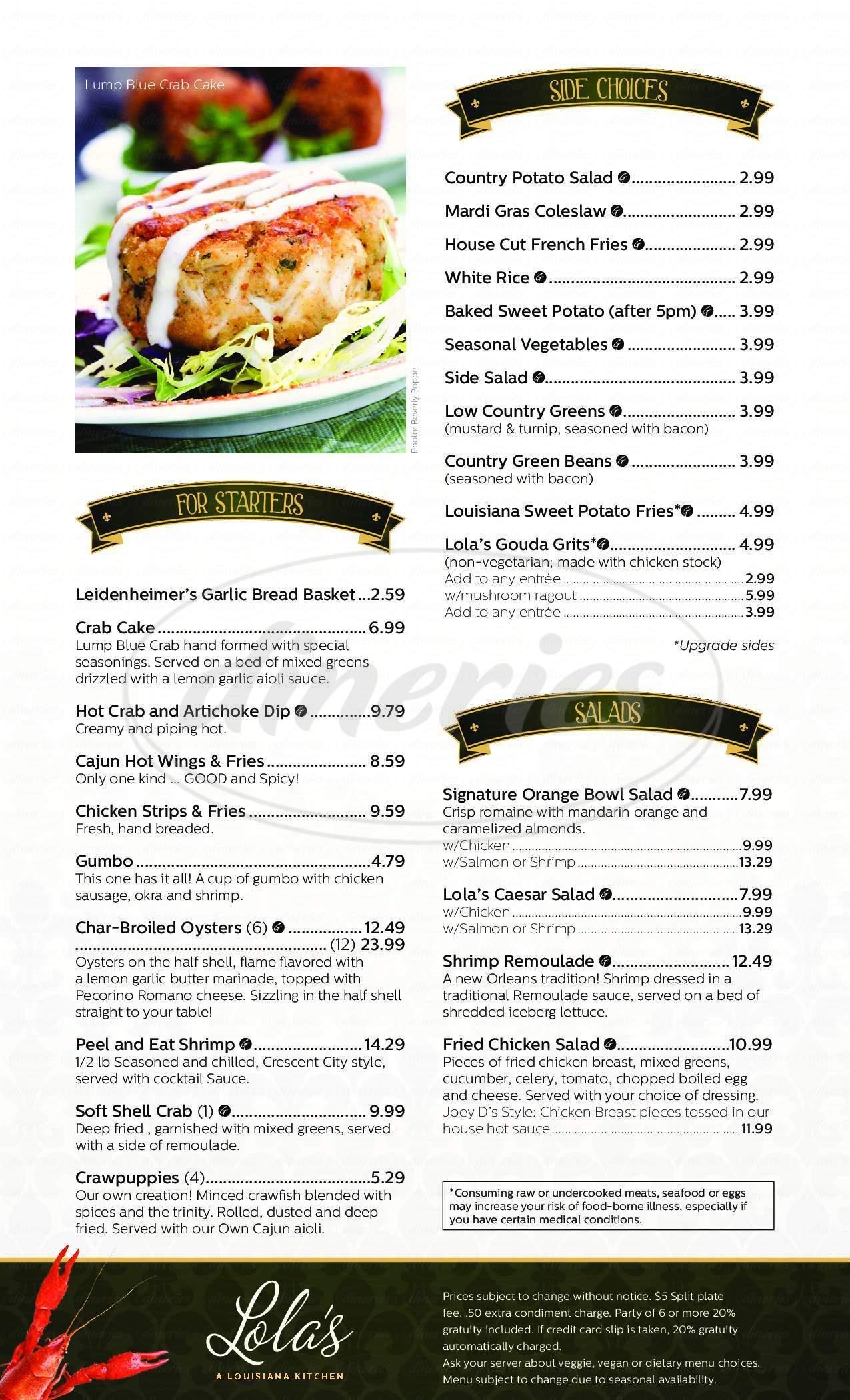 menu for Lola's