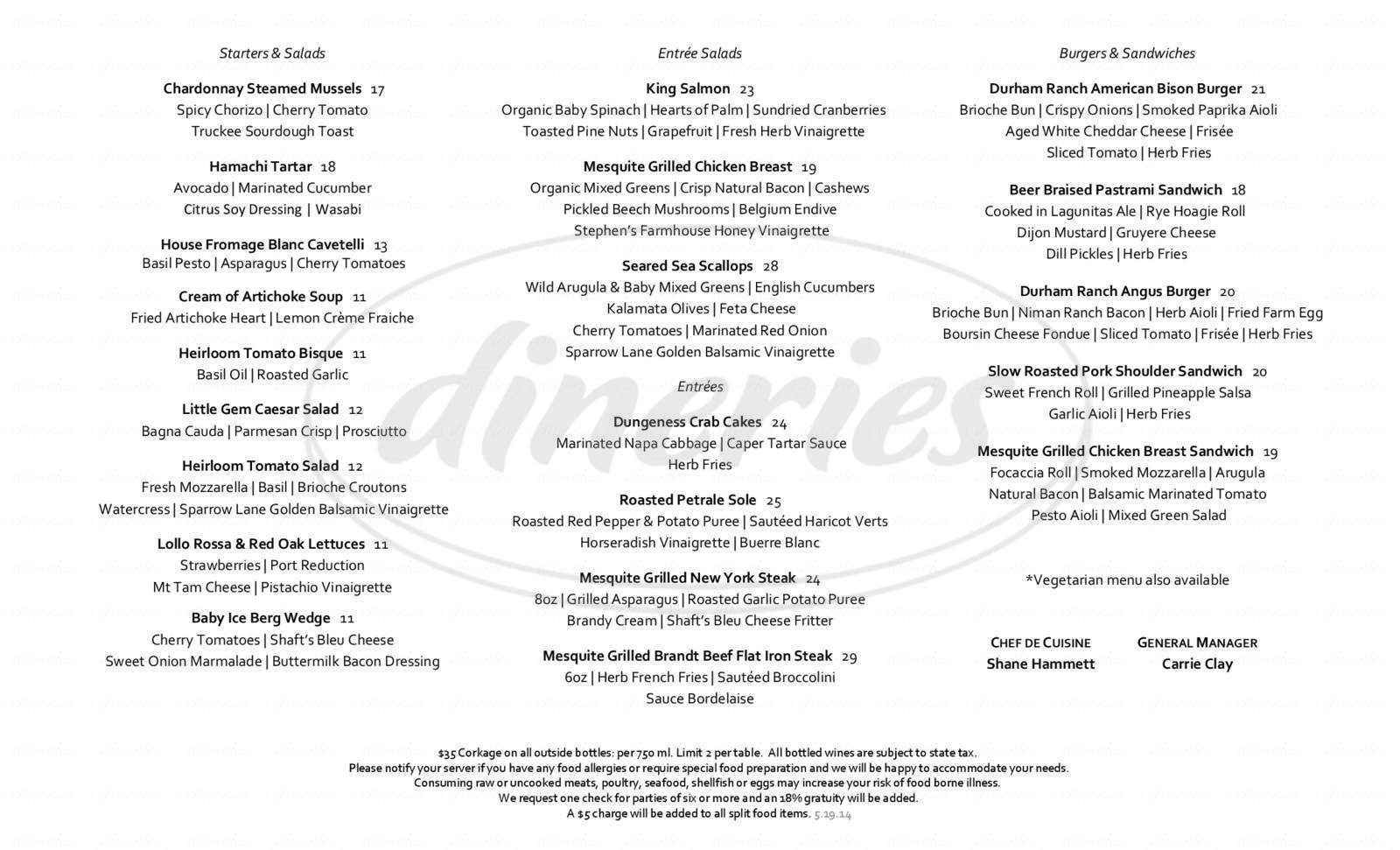 menu for Lone Eagle Grille