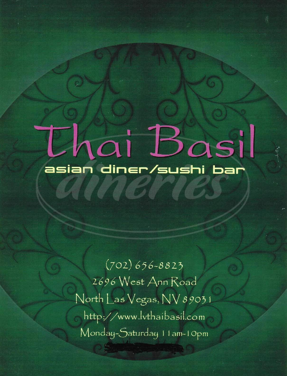 menu for Thai Basil