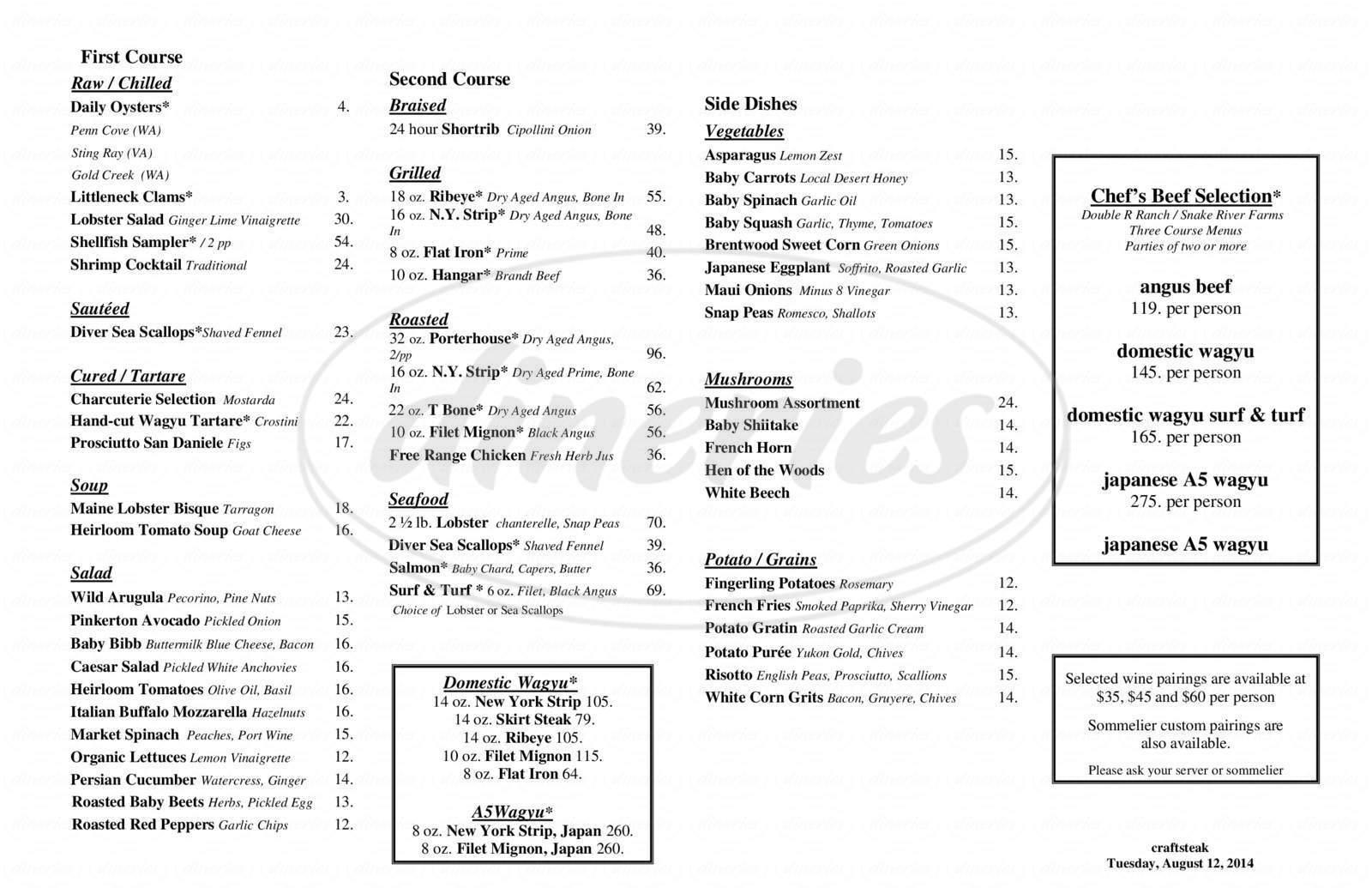 menu for Tom Colicchio's Craftsteak