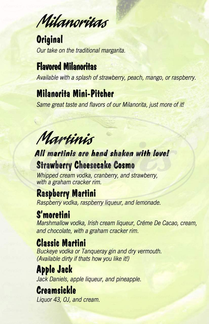 menu for Milanos Pizzeria
