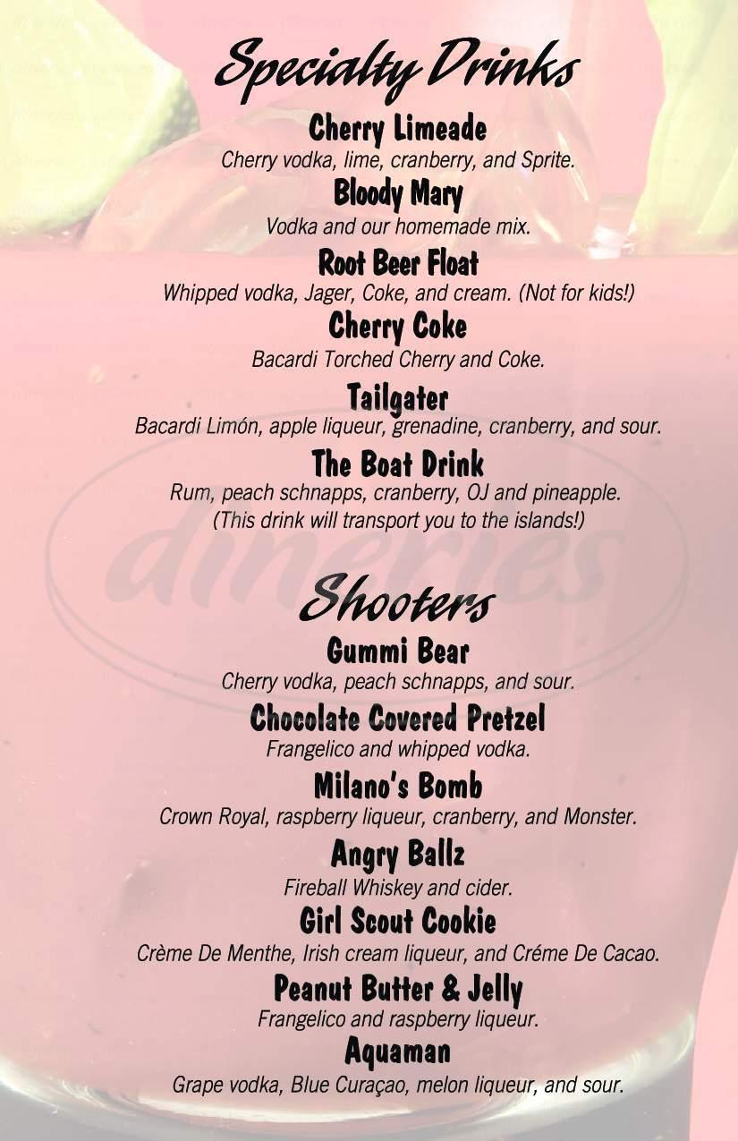 menu for Milanos Pizzeria