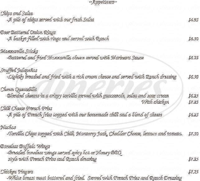 menu for Palace Saloon & Restaurant