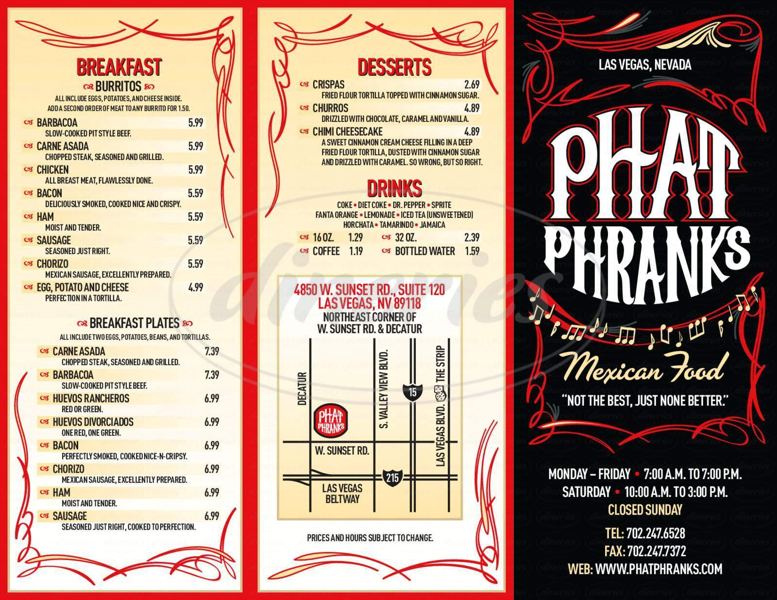 menu for Phat Phrank's