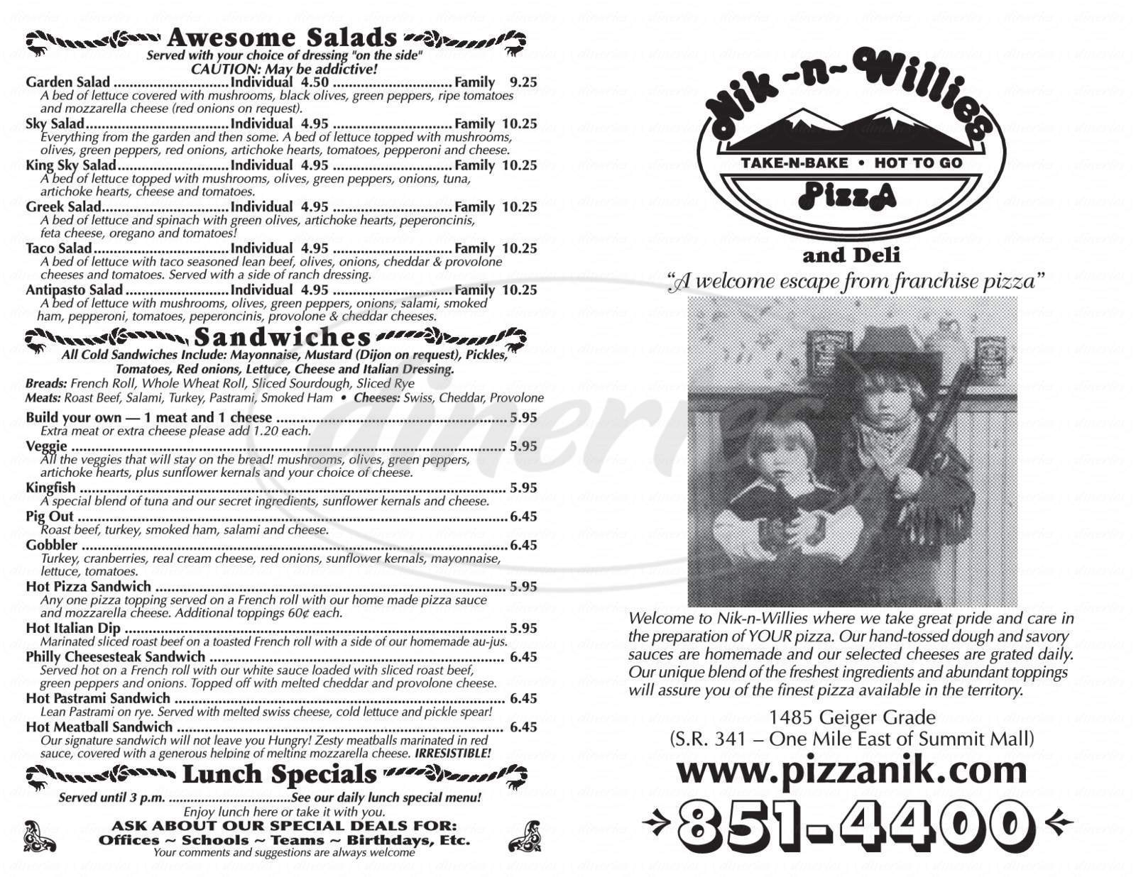 menu for Nik-N-Willies Pizza & Deli