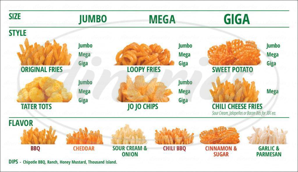 menu for Potato Corner
