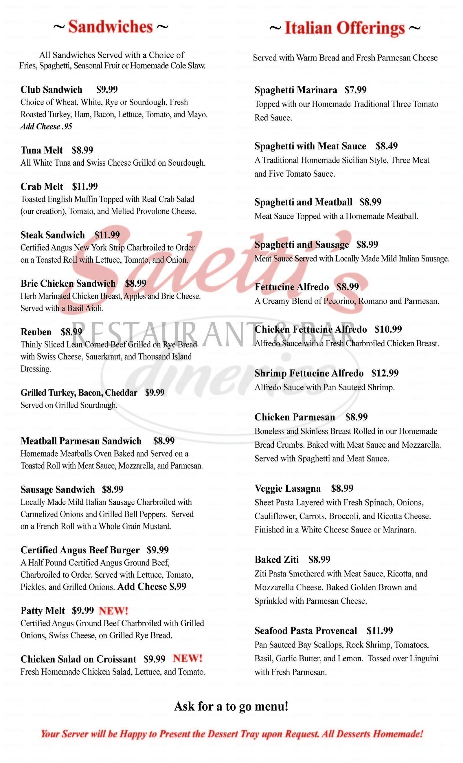 menu for Saletti's