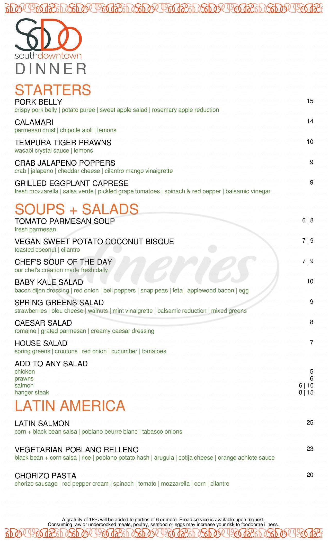 menu for SoDo Restaurant and Bar
