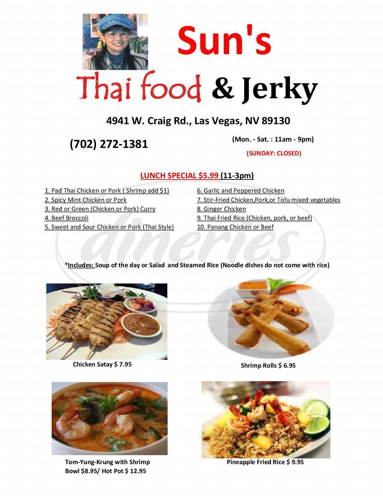 menu for Sun's Thai Food & Jerky